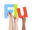 Multiethnic Arms Raised Holding Text Flu