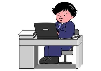 パソコンで仕事をするサラリーマン