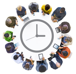 Multiethnic People Using Digital Devices with Clock Symbol