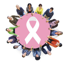 Group of People and Breast Cancer Concept