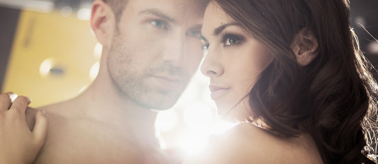 Bright portrait of the sensual couple