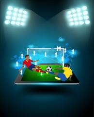 Football player striking ball at technology communication