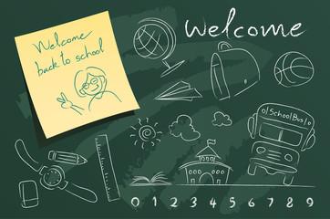 set of school vector illustrations on green blackboard