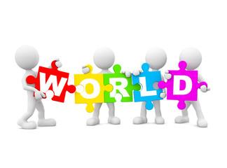 Group of people holding english multi coloured alphabet World