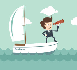 vision leadership - Businessman with a spyglass on a boat