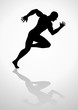 Silhouette illustration of a muscular male figure off to a fast