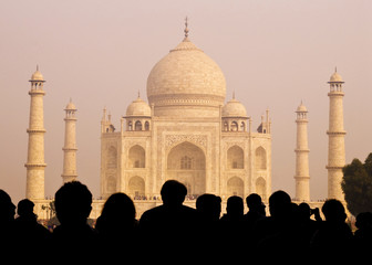 View Of Taj Mahal With Tourists Silhouettes