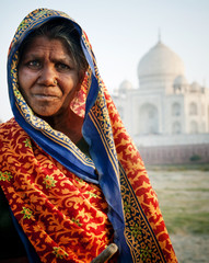 Indigenous Indian Woman And Taj Mahal As A Background