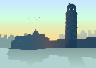 Illustration of Pisa (Italy) skyline with it's leaning tower