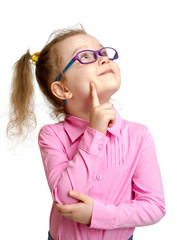 Adorable child in glasses looking up isolated on white