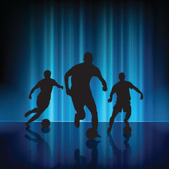Soccer player on abstract modern blue light background