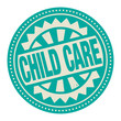 Abstract stamp or label with the text Child Care written inside