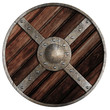 Medieval round wooden shield of vikings isolated on white - 65219433