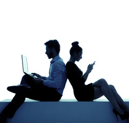 Young couple addicted to the internet