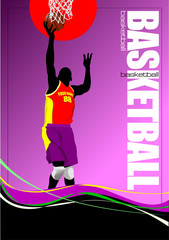 Basketball player poster. Vector illustration