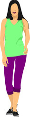 Young woman in sport suit. Duffle. Vector illustration