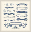 Set of vintage nautical ribbons over white background.