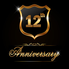 12 year anniversary, 12th anniversary decorative golden emblem