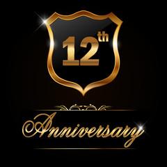 12 year anniversary, 12th anniversary decorative golden emblem