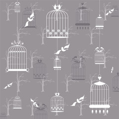 Bird cages on the gray background