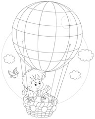Child flying on a balloon