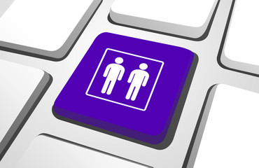 Close-Up Of Purple Homosexual Couple As A Computer Icon On A Key
