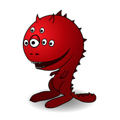 Hand drawn vector cartoon monster,  red devil character