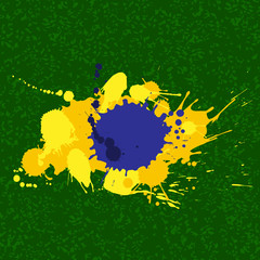 Vector background - abstract Brazil flag, made of blobs