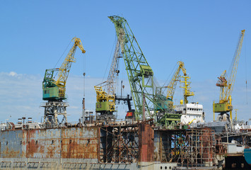 Dock of ship-repair plant