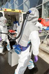 Hazardous material medical team with equipment