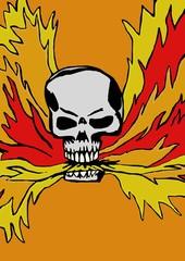 Skull spits fire