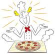 作りたてのピザをみせるコック