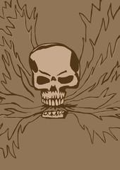 Skull spits fire vintage