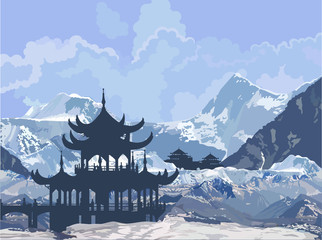 Chinese Pagoda in the snowy mountains