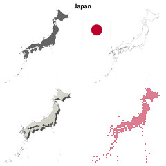 Japan blank outline map set