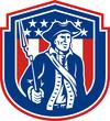 American Patriot Holding Bayonet Rifle Shield Retro
