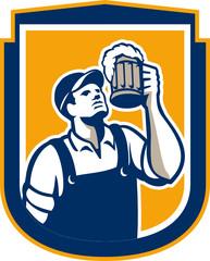 Bartender Toast Beer Mug Shield Retro