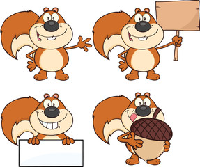 Squirrel Cartoon Mascot Character