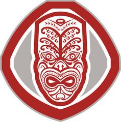 Maori Mask Face Front Shield Retro