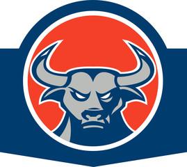 Angry Bull Head Circle Retro