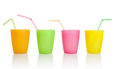 Plastic cups with drinking straws, clipping path