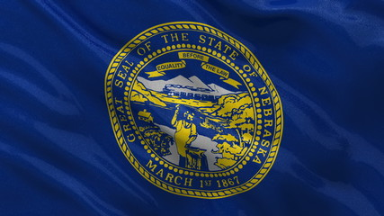 US state flag of Nebraska waving in the wind - loop