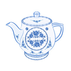 Teapot faience part of porcelain vector