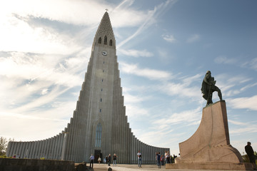 Iceland. Reykjavik. Hallgrimskirkja Church and Sculpture of Leif