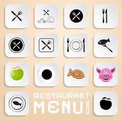 Vector Restaurant Menu Icons - Vector Design Elements