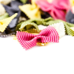 Colorful Italian Pasta  isolated on white background close up.