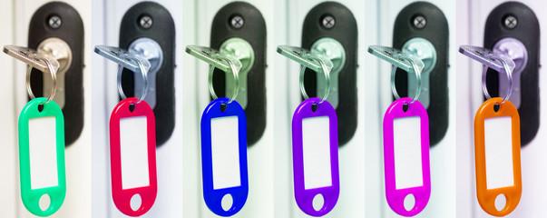 alignement de clés avec porte-étiquettes