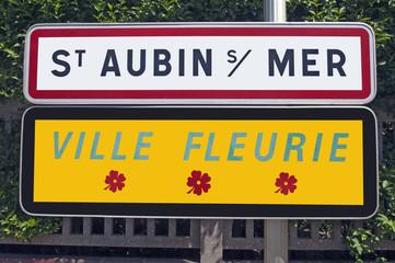 France, Saint Aubin sur mer - Panneau de commune