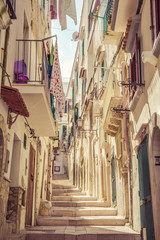 Typical italian medieval street.Apulia,Vieste, south Italy