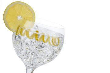 Gin and tonic con piel de limón aislado sobre fondo blanco